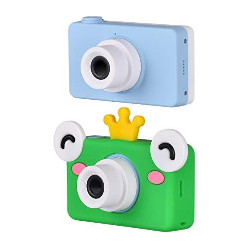 Funkprofi Digitalkamera für Kinder Kinderkamera mit Cartoon Frosch Schutzhülle Kidizoom Kids Kamera Fotoapparat Full HD 1080P 8 Megapixel 2 Zoll HD Bildschirm Blau