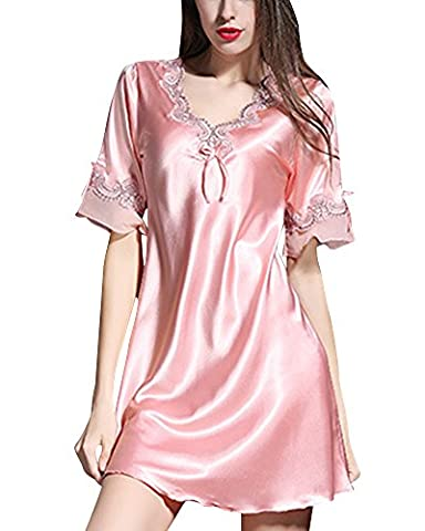 Femmes Manches Courtes Chemise De Nuit Satin Peignoir de Bain Nuisette Pyjama Pink M