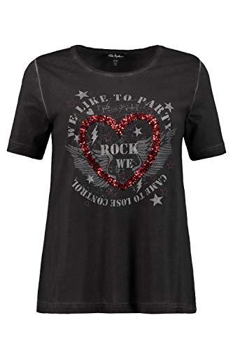 Ulla Popken Damen große Größen bis 64, T-Shirt, glitzerndes Pailletten-Herz, WE Rock Motiv, Rundhalsausschnitt, Halbarm, schwarz 50/52 724319 10-50+