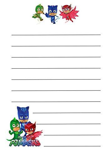 10A5Blatt & 10Umschläge C6PJ Maske Themed gefüttert Schreibpapier, Cartoon Design–Free P & P