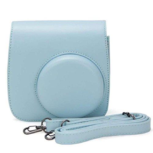 Vovotrade® PU pelle fotocamera borsa caso per Fujifilm Instax Mini8 Mini8s (Blu)
