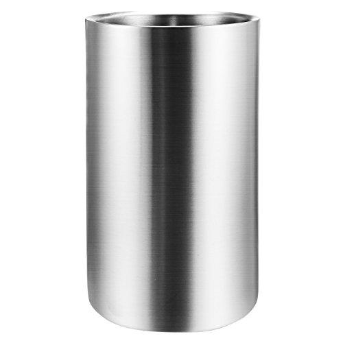 Homdox Edelstahl Flaschenkühler-Für Wein Sekt Champagnerkühler Doppelwandig mit matt gebürsteter Außenoberfläche Silber