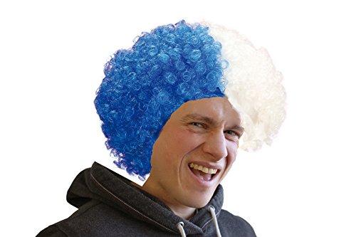 Widmann 5983L - Lockige Fußballfan-Perücke im Beutel, blau / (Kostüm Afro Weiße Perücke Ideen)