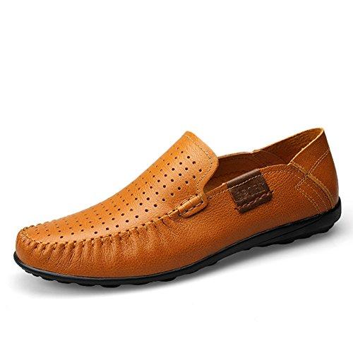 Shenn Männer Fahren Auto Beleg auf beiläufige lederne Schuhe Loafers Braun1