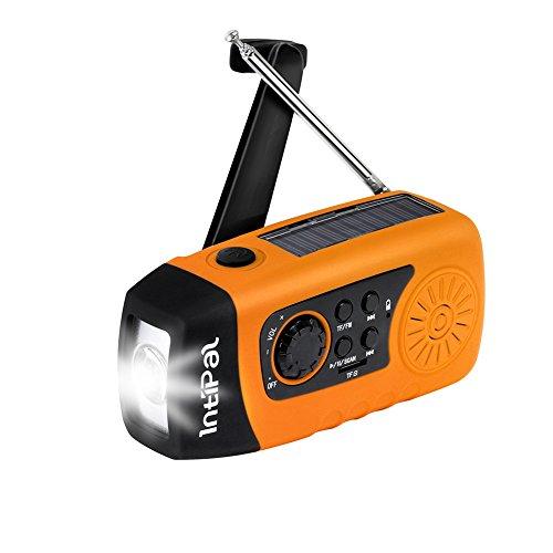 Led-kurbel-taschenlampe (IntiPal FM Solar Radio Solarradio mit Kurbel Kurbeldynamo LED Taschenlampe Notfall Ernstfall USB Handy Ladegerät Camping Outdoor (Gelb))