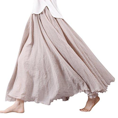 Frauen Damen Baumwolle Leinen Elastische Taille Double Layer Langer Rock Maxi Plissee Strand Strandrock Beige