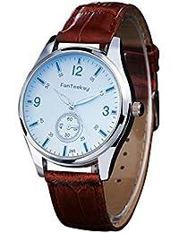 SamMoSon Relojes Hombre Acero Inoxidable Analogicos Automaticos, Reloj De Pulsera De Cuarzo para Hombres, De Cuero, De Estilo Minimalista,…