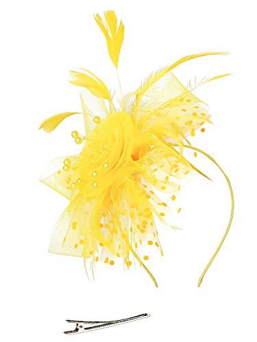 Hut Blume Mesh Bänder Federn auf einem Stirnband und einem geteilten Clip Cocktail Tea Party Headwear für Mädchen und Frauen, - Gelb - Gr. Einheitsgröße ()
