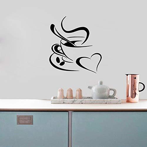 Adesivo da muro cucina caffè, tazza di caffè con cuore cucina adesivi murali in vinile da parete art deco h2 62x56cm
