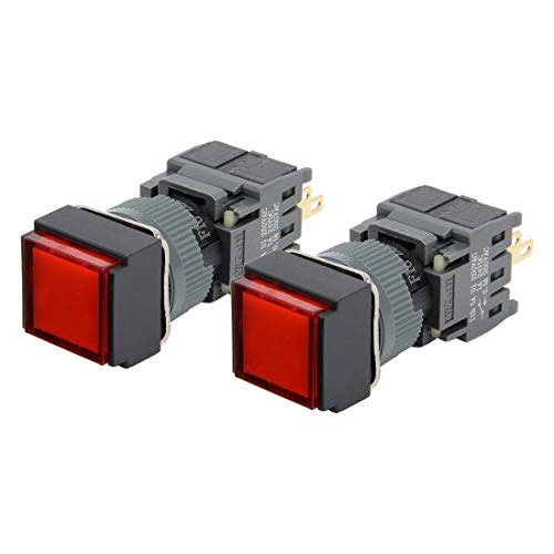 ZCHXD 2pcs Momentary Push Button Switch Square Head 16mm Mounting Dia SPDT 1NO 1NC with 24V Red LED Light -