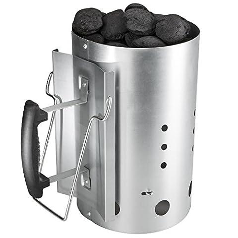 Bruzzzler Anzündkamin mit Sicherheitsgriff - Grillkohleanzünder Brennsäule 30 x 19 cm
