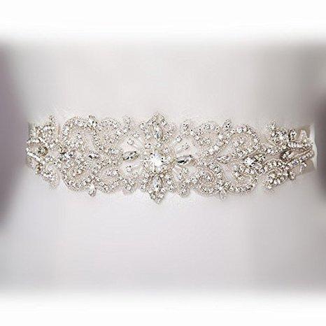Shinybeauty Ra204 Hochzeits-Taillengürtel, Perlen-Design-Brautschmuck, Taillenband, kristallbesetztes Band, für Hochzeitskleid, Strass-Band / Satinband / -Gürtel, Elfenbeinfarben, White Ribbon, 31.00cm*7.2cm