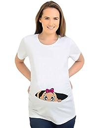 Binhee Mujeres Embarazadas Precioso el Bebé Tira De La Cremallera Abierta Sonda Imprimir Transpirable Camiseta De Alta Elasticidad