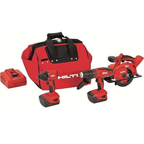 Hilti 3487026 18-Volt Lithium-Ion Cordless Hammer Drill Driver/Impact Driver/Circular Saw Combo Kit by (Cordless Impact Driver Kit)