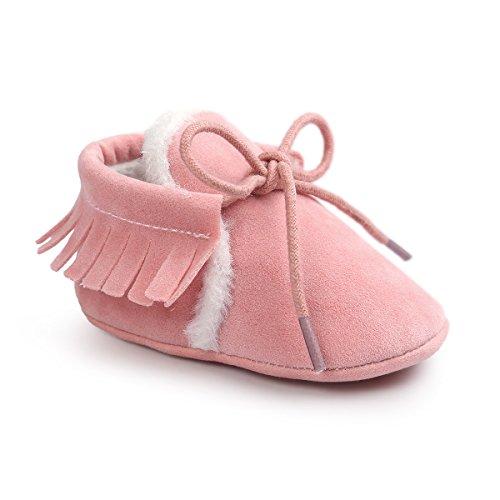 Auxma Baby Mädchen Junge Wiege-Quasten-weiche alleinige einzelne beiläufige Schuhe (12/6-12 Monate, Rosa(Winter))