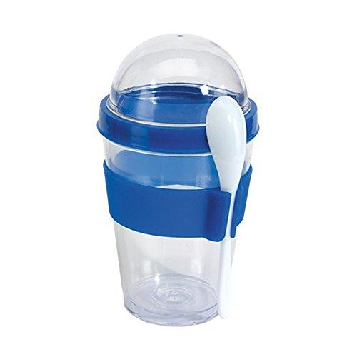Müslibecher Müslibecher Joghurtbehälter Müslidose 2 go aufschraubbarer Deckel inkl Löffel Blau mit Halterung