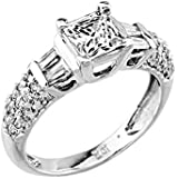Little Treasures - 14 ct White Gold CZ Solitaire Engagement Ladies Ring