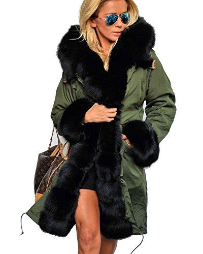 Roiii - giacca parka invernale lunga, da donna, con cappuccio in finta pelliccia spessa e calda, adatta per l'inverno, misure da 40 a 50 amry green 52