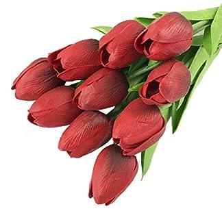 MENGZHEN 12 Colores Opcionales Flores Artificiales 10pcs para un Conjunto Flores Artificiales adecuados para la decoración decoración del hogar Tulipanes Artificiales