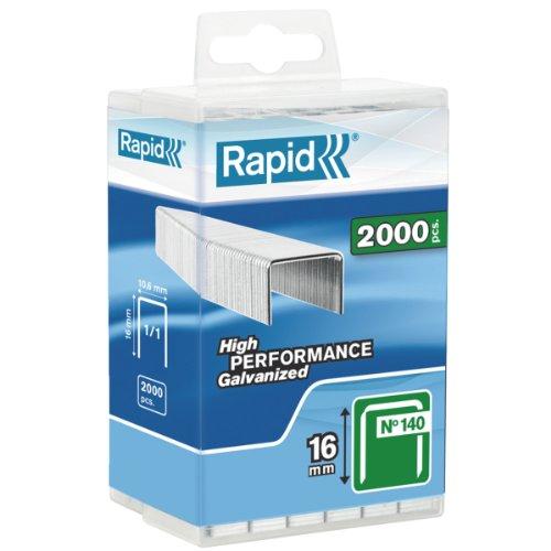 Rapid, 5000091, Agrafes N°140, Longueur 16mm, 2000 pièces, Pour les travaux de construction et d'isolation, Fil galvanisé, Haute performance