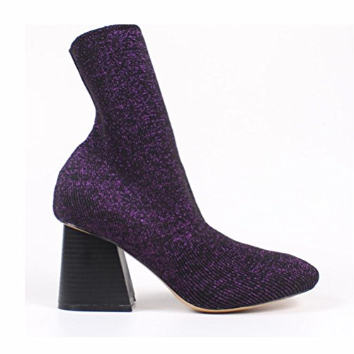 Solid Color Nieten (QPYC Frauen Damen High Heels Neue Herbst Solid Color Spitz Stiefel Rough Mit Wolle Stiefel , purple , 37)