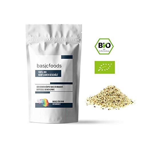 Basicfoods Bio Hanfsamen geschält Premium Qualität Hanf Samen 99% rein - natürliche Eiweiß quelle Vegan Glutenfrei Rohkost 1000g Omega 3 und 6 (1kg)