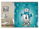 Bishilin 3D Anti-Schimmel Duschvorhang 150x200 Schneeflocke Schneemann mit Skateboard Badvorhang Anti-Schimmel