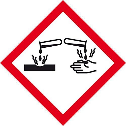 LEMAX® Gefahrensymbol Ätzwirkung GHS05, Folie, selbstklebend, 26x26mm, 21/Bogen (Gefahrensymbole)