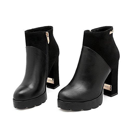 VogueZone009 Donna Tacco Alto Bassa Altezza Chiodato Stivali con Ornamento Di Metallo Nero