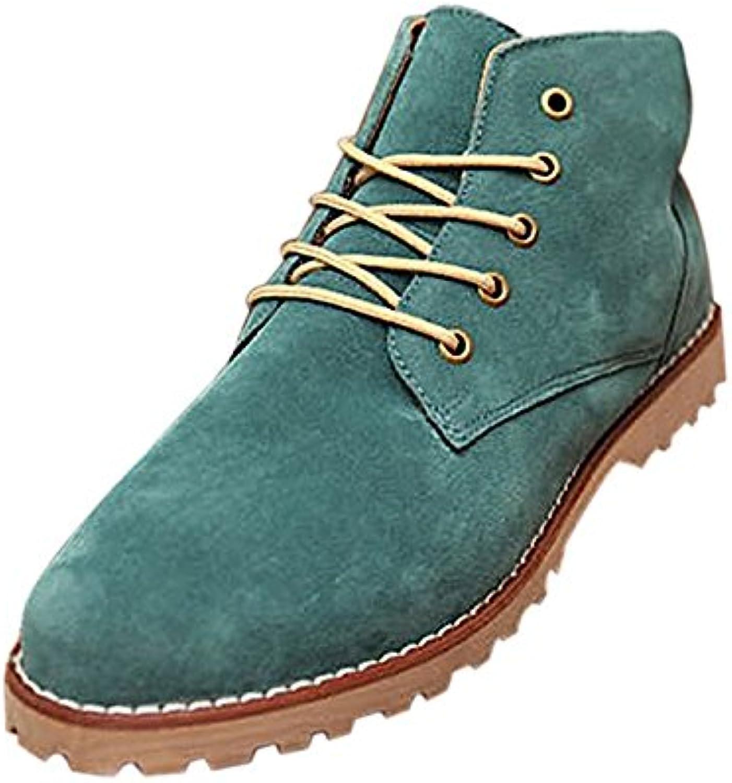 TOOGOO (R) Nueva moda britanicos para hombre Casual de encaje gamuza Botines Mocasines Zapatillas de deporte Verde...