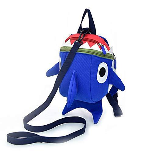 Kinderschultasche, Kinder Mini Süß Hai-Rucksack | Kinderrucksack mit Sicherheitszugseil | Kid's Cute Shark Sicherheitsrucksack, Blau