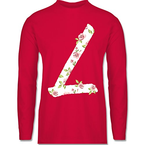 Anfangsbuchstaben - L Rosen - Longsleeve / langärmeliges T-Shirt für Herren Rot