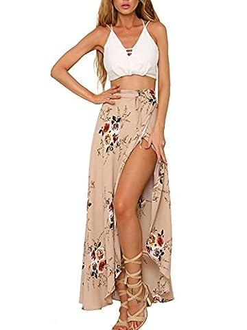Tomsent 2017 Femmes Eté Floral Impressions Taille Haute Côté Ouvrez Maxi Jupe Longue Bohème Style Asymétrique Skirt Plage Robe Rose FR