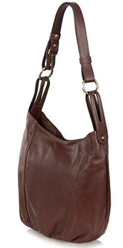Taschenloft kleine Damen Beuteltasche - Schultertasche aus weichem Leder (35 x 28 x 10 cm) Marrone Braun Marrone Braun