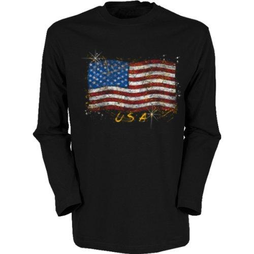 Marken Langarmshirt - Motiv Stars & Stripes - cooles Langarm Shirt Geschenk Herren Weihnachten Geburtstag Schwarz