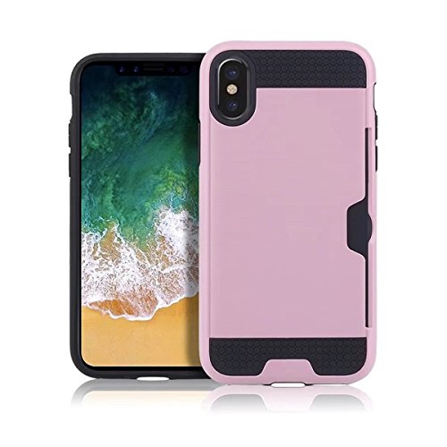 iPhone X Handycover, MOONMINI für iPhone X Dual Layer Brushed Textured Hybrid Hülle Hard PC Weich TPU Stoßfest Back Abdeckung Full Protection Schutzhülle Shell mit Kartenschlitz Rot Rosa