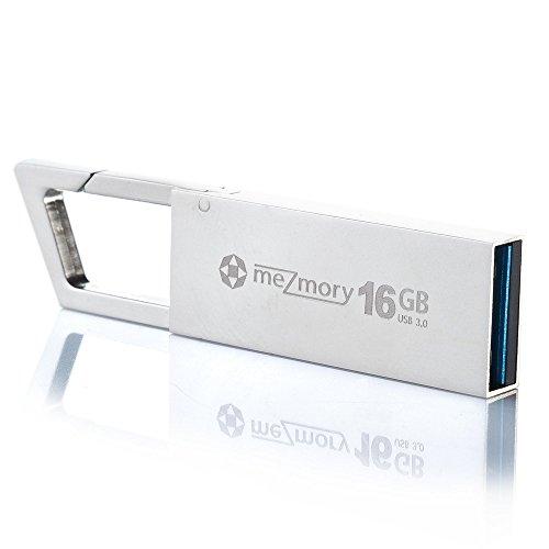 meZmory Karabiner USB Stick 3.0 16GB Silber - Schnell, Hochwertig & Einzigartiges Mini Design - Speicherstick Wasserdicht & Extrem Robust aus Metall - Flash-Drive Ideal für Schlüssel-Anhänger