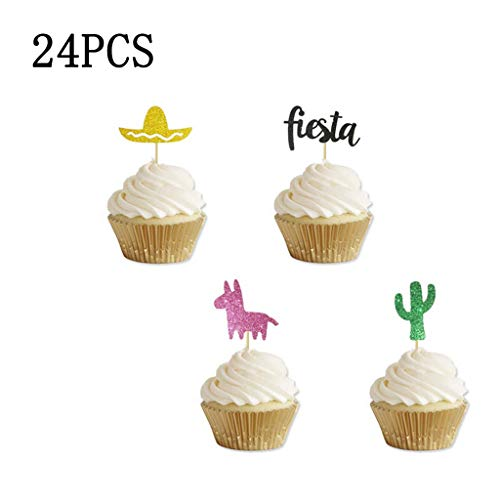 Dkings 24PC Party Supplies -Cupcake Stand - Cupcake Wrappers und Cupcake Toppers - Kindergeburtstag Karneval Party Supplies - Zirkus Themen Party Supplies für Kinder, mexikanische Karneval Thema Party