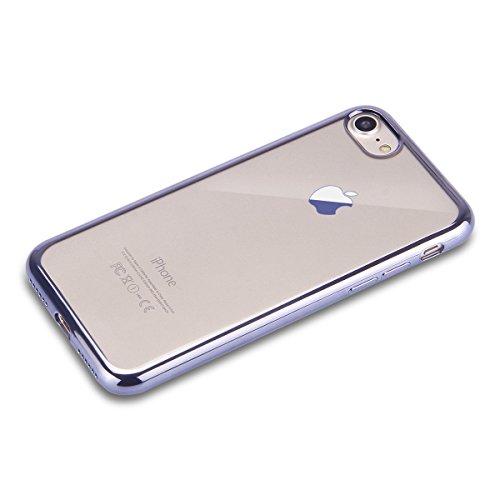 iPhone 7 Plus Hülle,iPhone 7 Plus 2016 Hülle,JAWSEU Luxus Gold Klare Ultradünne Silikon Gel Schutzhülle Durchsichtig Kristall Transparent TPU Silikon Bumper Schutz Handyhülle Case Tasche Etui für iPho Grau