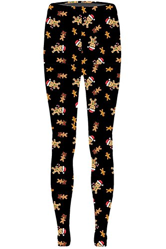 Be Jealous Damen Knöchel Länge Leggings Jeggings 2 Rentier Herz Weihnachten Weihnachtsbaum Hose - Hut Lebkuchen Schwarz, Übergröße EU 48/50 -