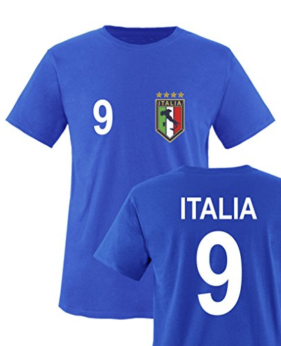 Comedy Shirts - WM 2014 - Italien - Nr. 9 - Kinder T-Shirt - Royalblau Gr. 122-128