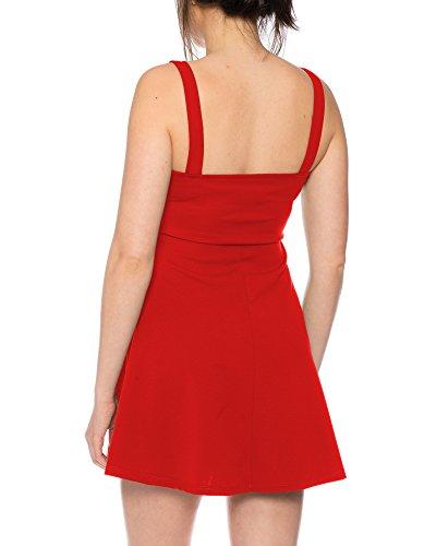 Tunika Minikleid Langes Top Oberteil Kleid Zipptunika Rot