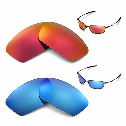 Preisvergleich Produktbild Walleva Polarisierte Fire Rot + ICE BLUE GLÄSER FÜR Oakley Square Whisker