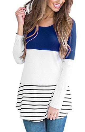 Yidarton Damen Langarmshirt Sweatshirt Blusen Streifen Spitze Lang Ärmel Top Blau