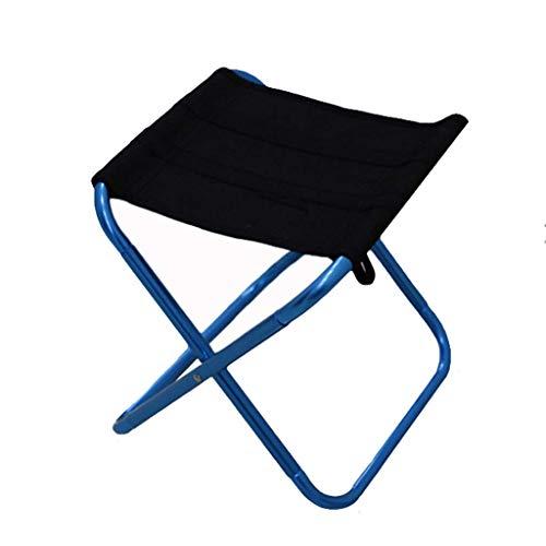 WANG Chaise de Pique-Nique extérieure Tabouret de Camping en Aluminium avec Petit Sac à bandoulière Noir (Couleur : Bleu)