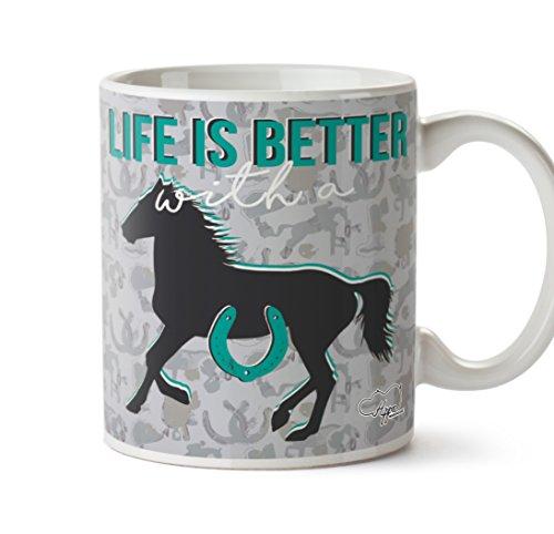 hippowarehouse Leben ist besser mit Ein Pferd Bedruckte Tasse 284ml Keramiktasse, keramik, grau, One Size (10oz) (Boot-steigbügel)