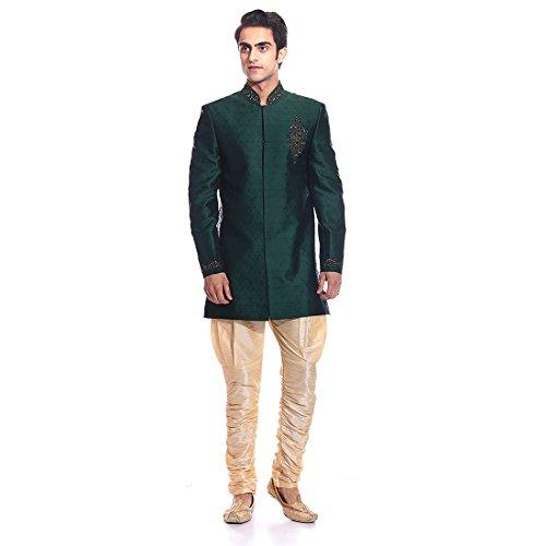 Tag 7 Men's Jacquard Sherwani (IN191_Green_42)