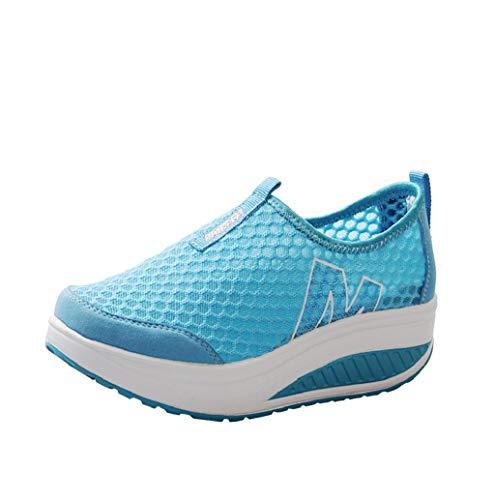 Hoopert-Moda Donna Scarpe Mesh Traspiranti Platform Dimagranti Sportive Basculanti Fitness Scarpe da Ginnastica Sneaker Zeppa Summer