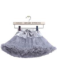 Falda plisada acodada del tutú de Tulle de las niñas? Para la fiesta de Navidad 5-7 años / M, gris