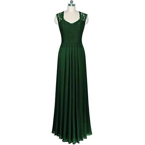 DaBag -Pure Color perspective Dentelle mousseline Robe à col V sans manches mince taille swing robe Maxi plié dété robe de gala Vert
